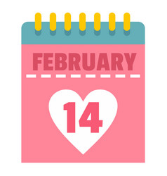 pink valentines day calendar icon isolated vector image