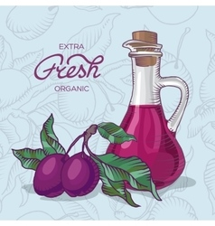Plum branch with fruit and carafe of juice vector
