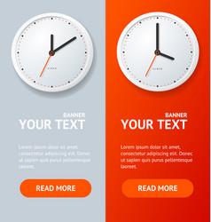 realistic detailed 3d clock banner vertical set vector image