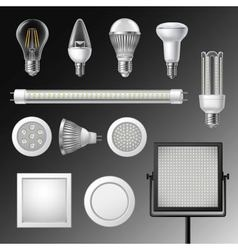 Realistic Led Lamps Set vector image
