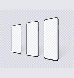 realistic smartphones in row en perspective view vector image