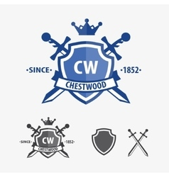Retro sword badges and shields logo design vector image