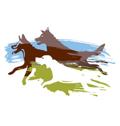 Running dogs on the meadow vector