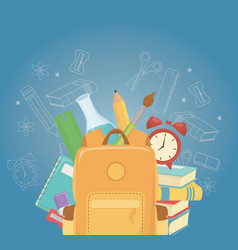 Schoolbag and supplies back to school vector