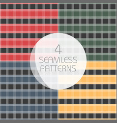 seamless tartan patterns set redyellow greenblue vector image