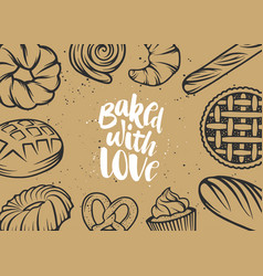 set bakery elements and handwritten lettering vector image