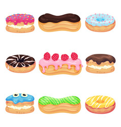 Set different pastries with icing vector