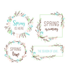 set of spring frames of branches and leaves vector image