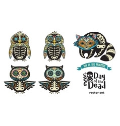 Set with sugar skull penguins owls and raccoon vector
