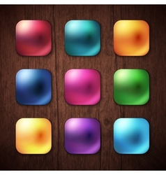 Shiny Colored Square Buttons on Wooden Background vector image