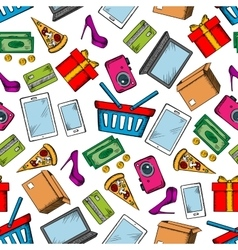 Shopping and leisure seamless background vector