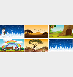 six scenes nature at different time vector image
