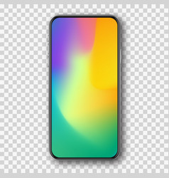 Smartphone with color screen mockup template vector