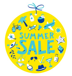 Summer sale lettring shopping tag with round vector