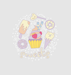 sweet fun cartoon cupcake with colored frosting vector image