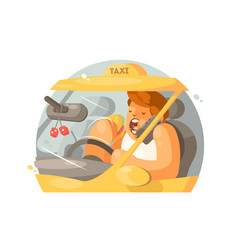 taxi driver driving vector image