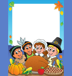 Thanksgiving theme frame 2 vector