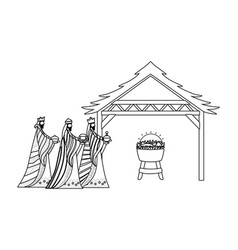 Three wise men happy epiphany day design vector