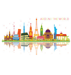 Travel concept around the world with famous vector