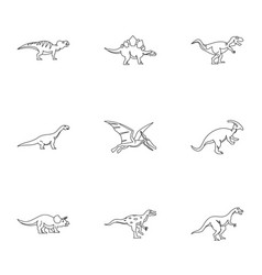 types of dinosaur icons set outline style vector image