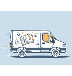 Van free and fast delivering photo book t vector