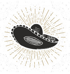 vintage label hand drawn sombrero mexican vector image