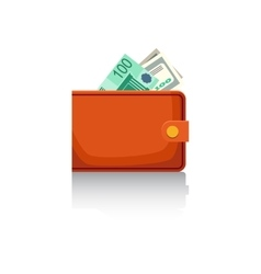 Wallet with banknotes vector image vector image