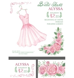 Watercolor pink bridal shower invitationDress vector image