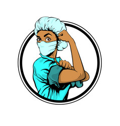 We can do it woman african doctor medicine mask vector