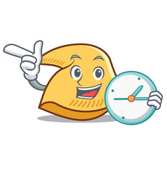 With clock fortune cookie character cartoon vector