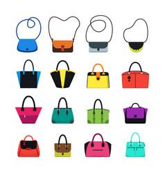 cartoon handbag or female bags color icons set vector image vector image