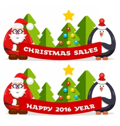 Christmas flat banner vector image vector image
