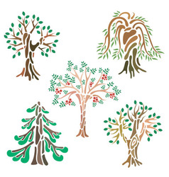 Different kinds of trees in abstract view vector image