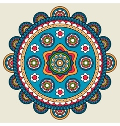 Doodle boho floral round motif vector image
