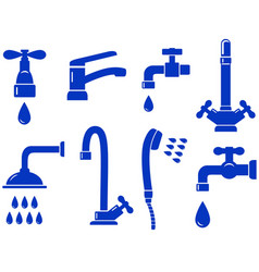 water set with isolated faucet icon vector image