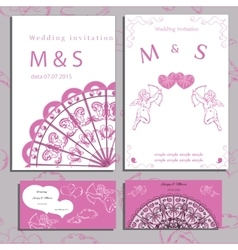 Wedding of set invitation and cards vector image vector image
