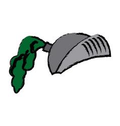Cartoon medieval helmet knight metal vector