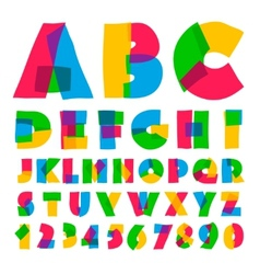 Colorful kids alphabet and numbers vector image