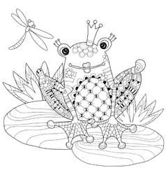 Cute frog prince in crown with lotus vector