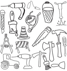 Drawn working tools vector