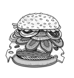 Hamburger isolated on white vector image