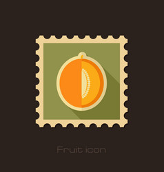 melon flat stamp fruit vector image vector image