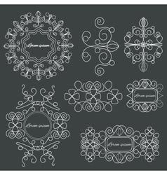 Set logos elegant ornament lines on a black vector image vector image