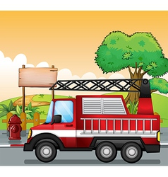 A red utility truck and the signboard at the vector image vector image