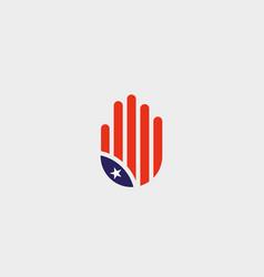 abstract hand us flag logo design stylized human vector image
