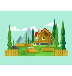 Cottage construction vector image vector image