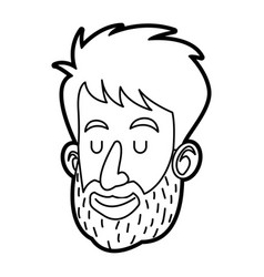 face man male bearded character image vector image