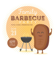 family bbq party invitation template cute steak vector image vector image