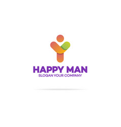 happy human logo with silhouette man vector image
