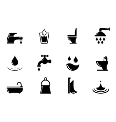 set of water and bathroom object vector image